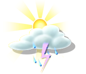 sunny intervals, intermittent showers, with isolated thunderstorms